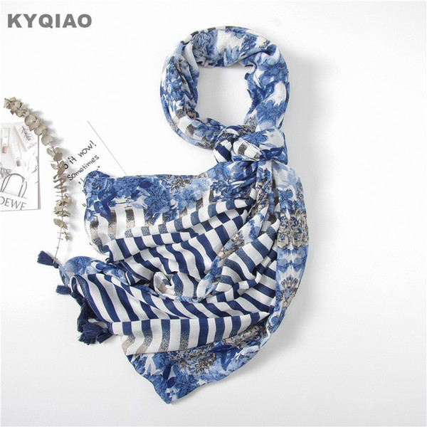 KYQIAO Striped scarf for women autumn summer spring Japanese style fresh long dark blue stripes floral scarves muffler