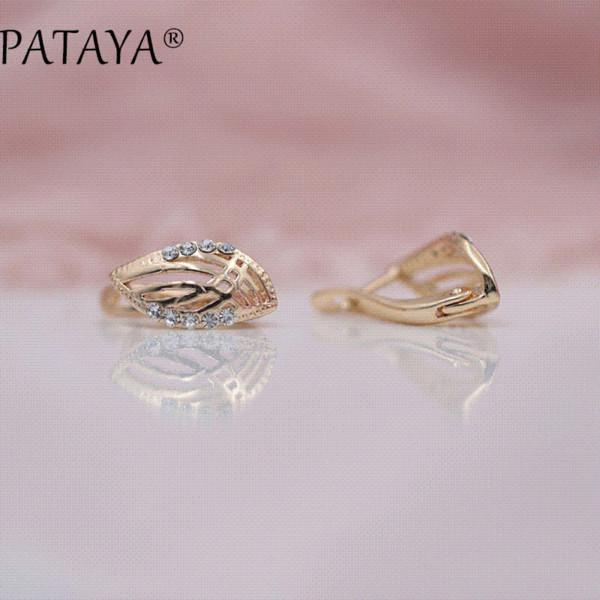 PATAYA New Arrivals Fashion 585 Rose Gold Hollow Leaf Drop Earrings Women Simple Beautiful Arc White Round Rhinestones Jewelry