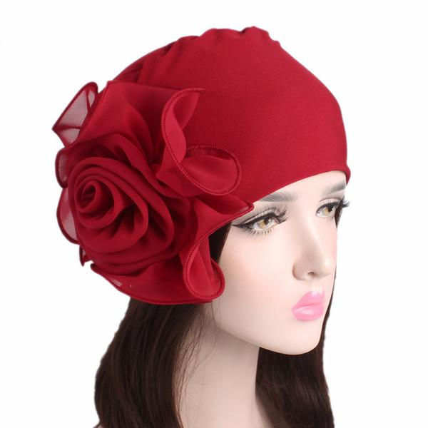 Frauen Große Blume Stretch Schal Hut Damen Elegante Mode Haarschmuck Chemotherapie Hut Turban Bandanas