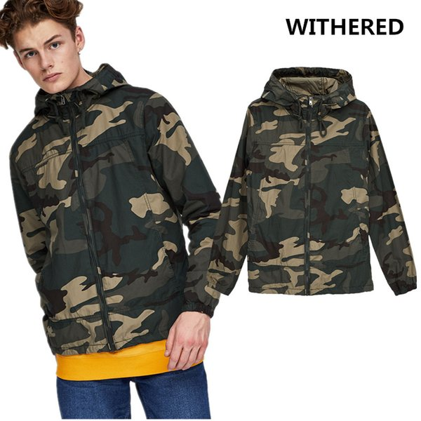 887e55f0637 Withered man 2017 bomber jacket plus size european style young people  camouflage color hooded outdoors Anorak