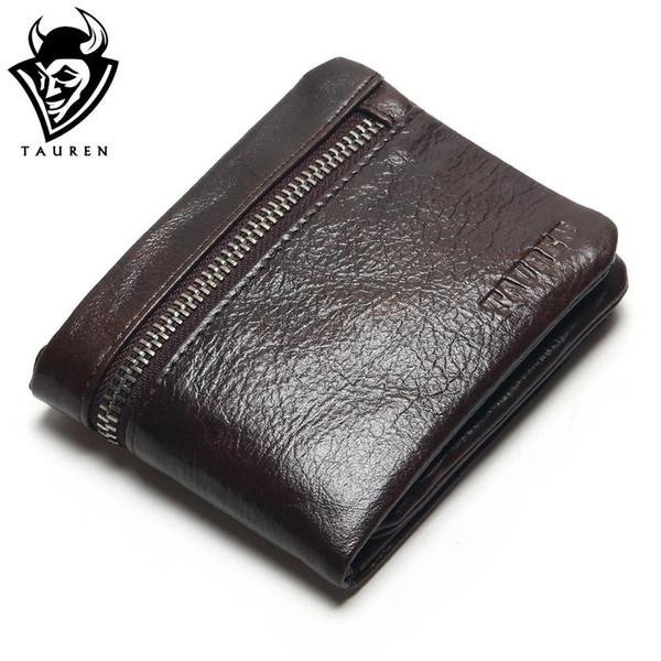 TAUREN Genuine Leather Mens Wallets Brand Logo Zipper Design Short Men Purse Male Clutch With Card Holder Coins Purses Wallet
