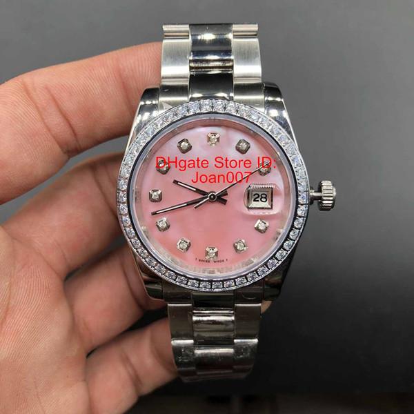 Marcas de lujo Reloj Diamante Bisel Rosa Dial Presidente Mujeres Relojes de acero inoxidable Para mujer Señoras Reloj automático mecánico 36 mm