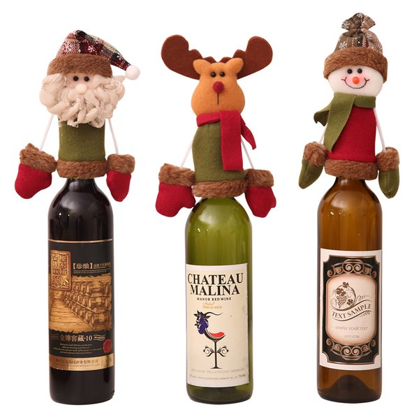 New Year Christmas Wine Bottle Cap Set Cover Hanging Ornaments hat Xmas Dinner Party Home Table Decoration Supplies