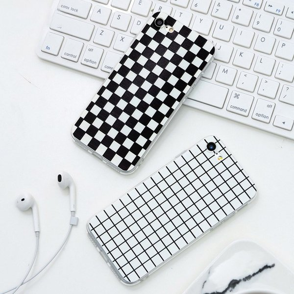 Luxury Retro Black White Grid Case For iphone 7 8 Plus TPU Soft Full Cover For iphone 5 5s 6 6s PLus Cases