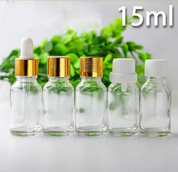 Emptpy 15 мл стекло эфирное масло капельницы бутылки 1/2 унции капля жидкости пипетки бутылки ясно косметическая упаковка бутылки