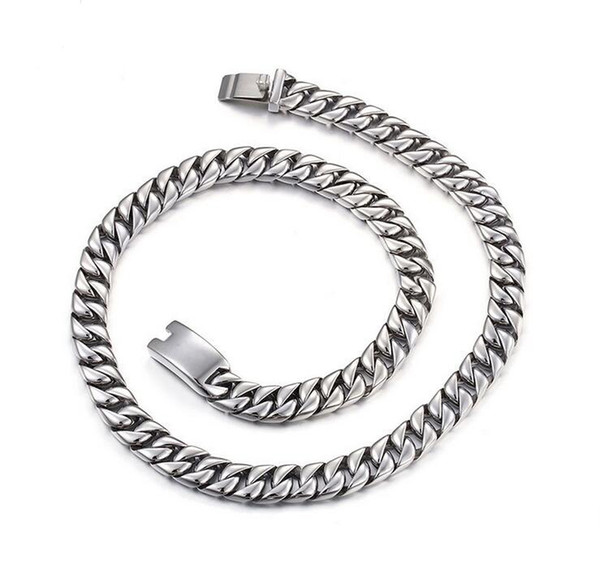"""24"""" 11mm Huge Heavy Polished Jewelry 316L Stainless Steel Silver Curb Cuban Chain Men's Necklace Christmas Gift High Quality"""