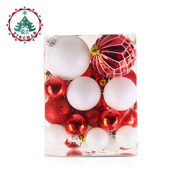 wholesale Christmas Tree Decoration Balls Ornaments Pendant Accessories 50pcs Red and white ball Decor For Christmas Home Party 2019