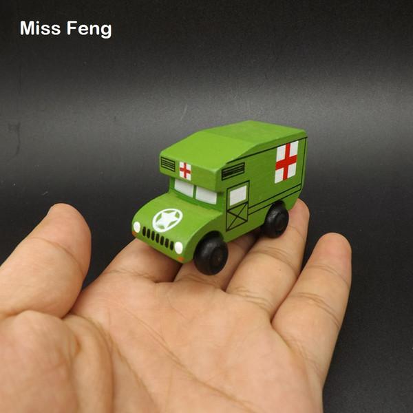 Mini Ambulancia Vehículo Juguetes Educativos Modelo de Coche de Madera Niño Regalo Regalo de Aprendizaje Educativo Juguete de Madera Juego de Regalo Niño