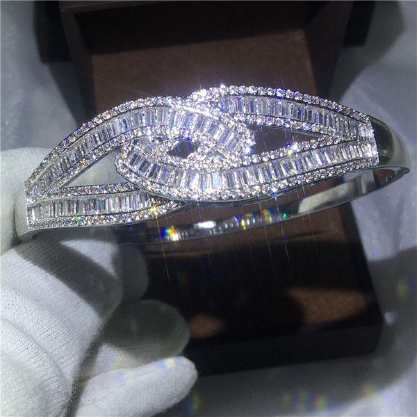 Pulsera cruzada femenina hecha a mano de diamantes S925 plata esterlina fiesta de compromiso de la boda del brazalete para las mujeres joyería de moda