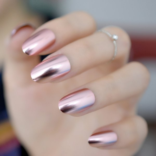 24pcs/kit Round Pink Matte Metallic Nail Medium Full Cover Mirror Fake Nail Tips Manicure Accessories with Glue Sticker Z798