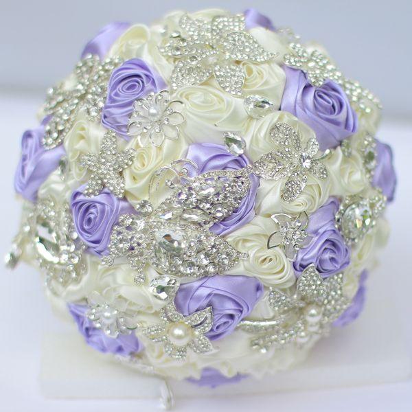 High-end custom bridal bouquets Korean DIY brooches Light purple ivory wedding brides bridesmaid bouquet