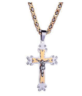 패션 고전 종교 스타일 보석 예수님 크로스 크리스탈 티타늄 스틸 펜던트 목걸이 세트