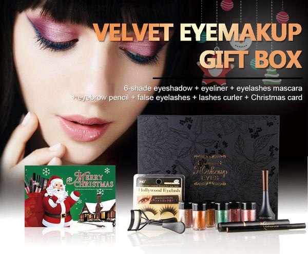 11 Pcs/Set 6 Colors Eyeshadow Glitter Powder + Mascara Waterproof Volume + False Eyelashes Eyeliner Pencil Eye Lashes Curler