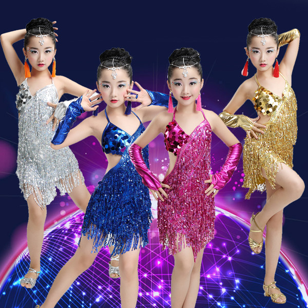 Classical Sequins Tassel Latin Ballroom Dresses Girls Salsa Dance Costume Competition Dancing Dress Kids Ballroom Tango Dresses