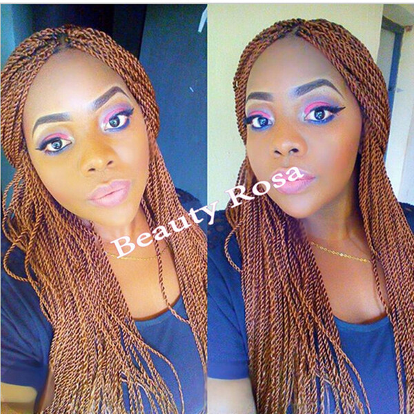 Glueless box braid wig Afro Synthetic Lace Front Braid Wig Brown Long braided twist Wigs For Black Women