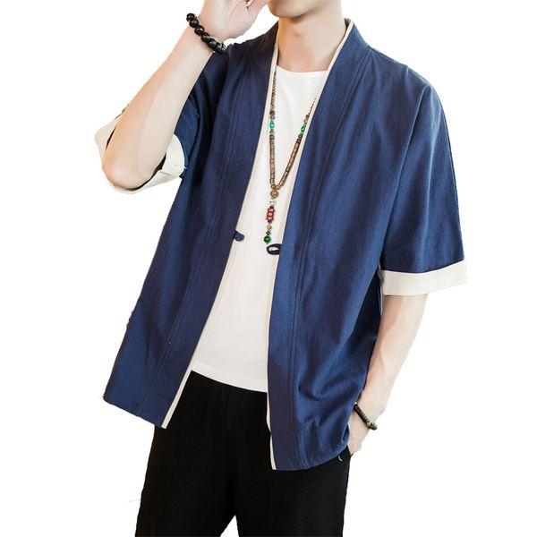 Verano de manga corta puntada abierta abrigos casuales Masculino taoísta robe Kimono suelta chaquetas de algodón de los hombres chaqueta de la chaqueta para hombre más el tamaño