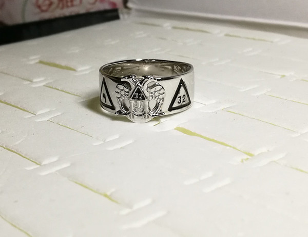 d329af198 Solid 925 sterling silver rhodium plating 18k gold plated men's masonic ring  Scottish Rite 32 degree