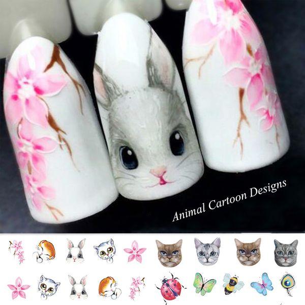 1 Blatt Nagel Aufkleber Katze Schmetterling Wassertransfer Decals Niedlichen Cartoon Muster Temporäre Nail Art Dekoration Tipps SASTZ501-507