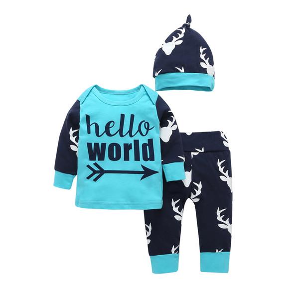 Newborn Baby Clothing Set Cotton English Words Long Sleeve Romper + Cartoon Deer Drawing Pants Children's Boys Girls Clothing