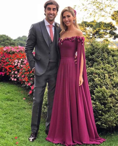 Off Shoulder Chiffon Prom Dresses Long 2019 Cheap Formal Evening Party Gowns Handmade Flower Bridesmaid Ball Sweet 16 Dress
