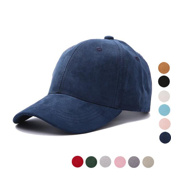 2018 unisexe Faux suède casquette de baseball doux réglable solide chapeaux de papa chapeau de sport pour les femmes / hommes couleur unie fille suede casquette de baseball