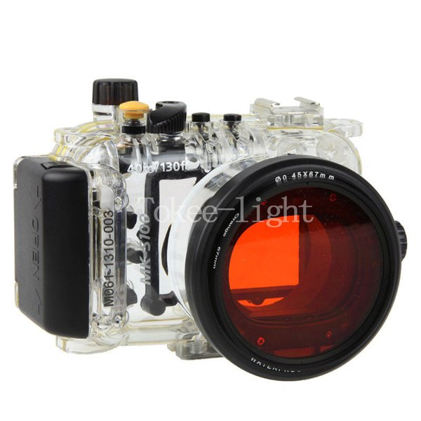 40 meters 130ft Underwater Waterproof Housing Diving Camera Case Bag for Canon S100 Camera With Red filter