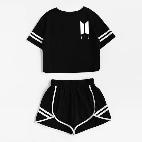 2018 Tracksuit Women Two Piece Set Summer T Shirt Crop Tops and Shorts Set Fashion BTS Kpop Stripe Lady Track Suit 2 Pieces