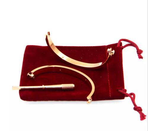 2018 Hot Titanium Steel Love Bracelets rose gold/silver/gold Screwdriver Bangles men charm screw bracelet Couple Jewelry with original bag