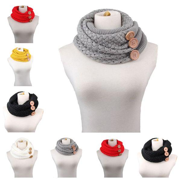 Sciarpa infinita a maglia calda invernale Modello da donna di lusso tinta unita all'uncinetto Sciarpa ad anello snodata a maglia larga grosso bottone JLE53