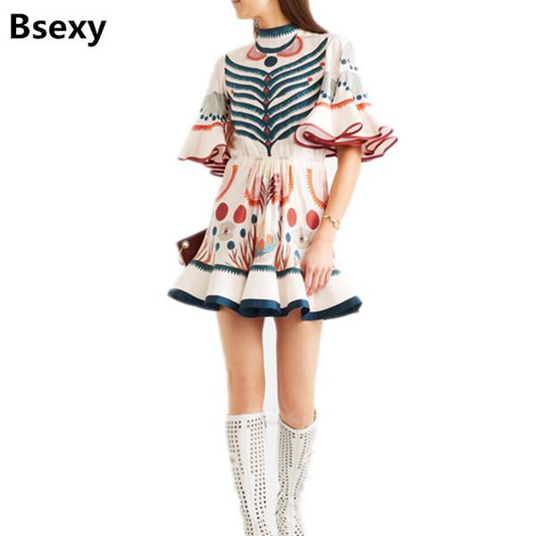 harajuku Dress for Lady 2018 summer Women's Designer Print New Flare Sleeve Ruffle mini Dress bohemia fish tail boho