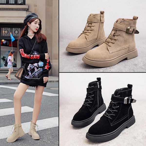 En kaliteli Avrupa ve Amerikan sonbahar ve kış yeni stil hakiki deri Martin çizmeler lace up kemer toka yan fermuar kadın ayakkabı