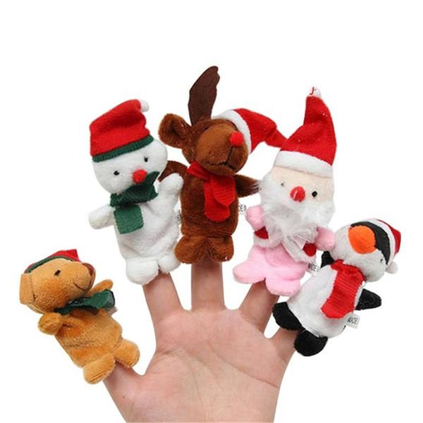 Weihnachten Fingerpuppen Plüschtiere Cartoon Weihnachtsmann Schneemann Handpuppe Niedlich Weihnachten Hirsch Kuscheltiere