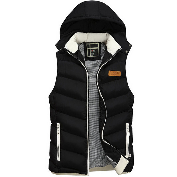 Winter New Men's Vest Autumn Brand Fashion Hooded Warm Thicken Casual Parkas Vest For Men Plus Size L~3XL Pull Homme