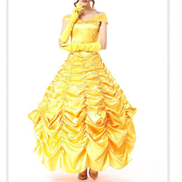 d26022962 Beautiful And The Best Costumes Princess Dresses Adult Fancy Cosplay Halloween  Costumes for Women Yellow Princess