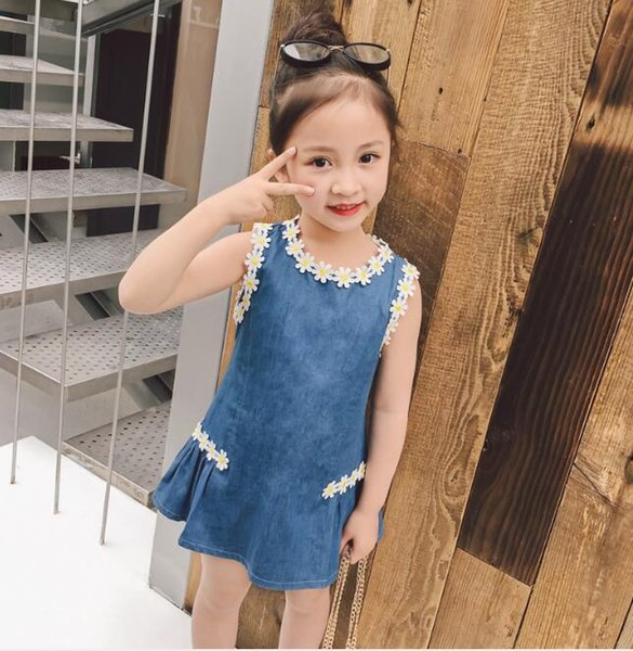 2018 Children s Clothing New Summer Korean Kids Skirt fashion Sunflower Sun flower Edge Washed Denim Jeans Girls Dress