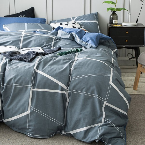 Grey Brief Duvet Cover Set For Men White Stripes Quilt Cover Blue Solid Color Bed Sheets Pillow Case Cotton 100% Bedding Queen