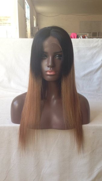 Free Shipping Ombre 1b 30# Color Brazilian Human Hair Full Lace Wig Silky Straight Two Tone Lace Front Wig 130% density