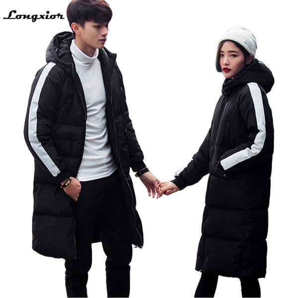 2017 Winter Parkas Men Fashion Long Jacket For Men Women Thicken Cotton-padded Winter Coats Couples Hooded Plus Size Parkas MY17 C18111201