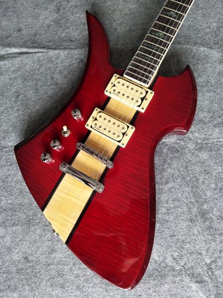 Red fábrica chinesa personalizado mão esquerda guitarra elétrica jacarandá fingerboard mogno corpo tigre maple folheado frete grátis