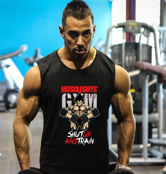Fitness Tank Top Men Bodybuilding Clothing Gyms Stringer Vests Mens Sleeveless T Shirt Cotton Singlets Muscle Tops
