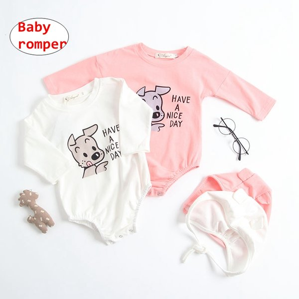 "Baby Dog print Romper Set INS Newborn unisex long sleeve Jumpsuit ""Have a nice day "" letter print Overalls"