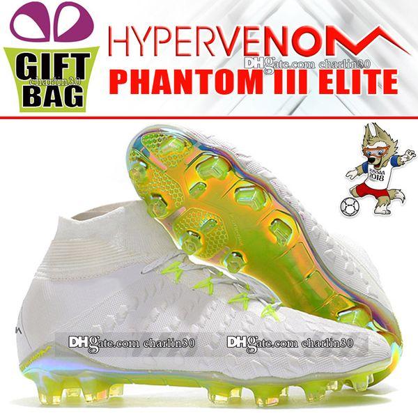 New Top Hypervenom Phantom III Elite DF FG Football Boots High Ankle Socks ACC Soccer Cleats Outdoor Hypervenom Soccer Shoes Football Cleats