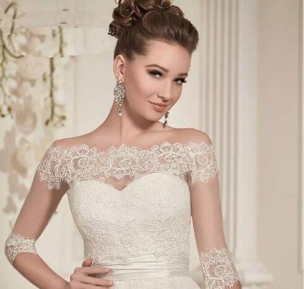 Elegant Lace Wedding Bolero Jacket Bateau Neck 3/4 Sleeves Appliques Tulle Bridal Jacket Cap Sleeves Wedding Accessories covered buttons