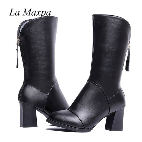 La MaxPa Basic 2018 Women Thick Heel Mid-Calf Boots Black PU Fleeces Work Shoes Winter Spring Lady Super Back Zipper High Heels