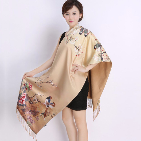 FGLAC New 2018 Autumn women silk muffler women real silk scarf scarves shawl dual long scarves Chinese style Printed scarves Y18102010