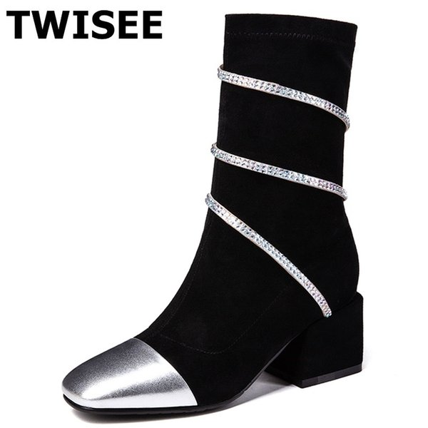 women mid calf boots pumps hot selling sapatos femininos autumn woman casual shoes square heels 4 cm crystal mixed colors