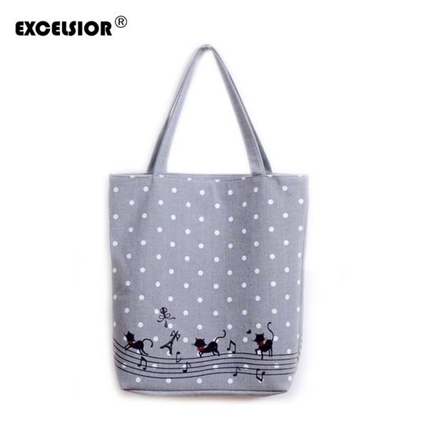 2019 Fashion EXCELSIOR Women's Cute Cartoon Music Cats Printed Shopping Handbag Ladies One Shoulder Canvas Bags Female Beach Bag Sac A Main