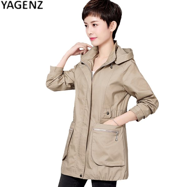 YAGENZ Large size Middle-aged Ladies Clothes Overcoat 2017 New Spring Autumn Mother Casual Windbreaker Women Hooded Trench Coat