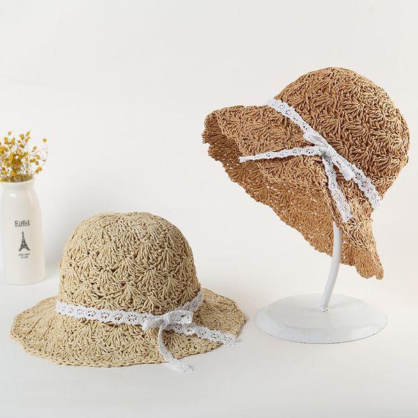 Mãe Filha Família Combinar Chapéus Crianças verão fina ar shading cap menina princesa fresco protetor solar chapéu de praia