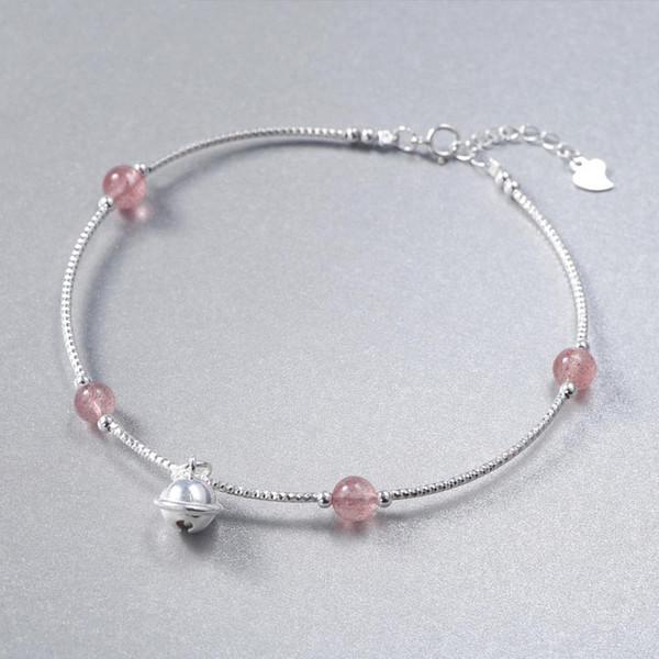 Red Trees Brand Summer Jewellery Pink Crystal Anklet Bracelet For Women Fashion Bell Anklet Silver 925 Cheville Femme